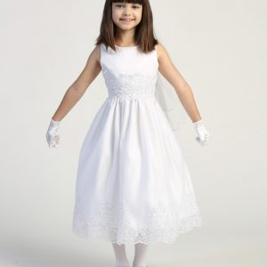 Size 10 First Communion Dress with Beaded Bodice and Skirt