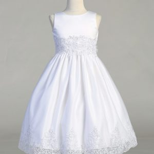 Size 6 First Communion Dress with Beaded Bodice and Skirt
