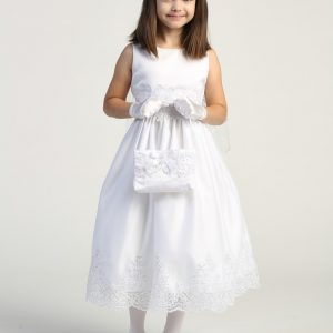 Size 7 First Communion Dress with Beaded Bodice and Skirt