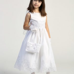 Size 8 First Communion Dress with Beaded Bodice and Skirt