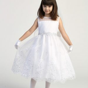 T Length First Communion Dress with Crystals