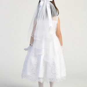 Tea Length First Communion Dress with Crystals Back 2