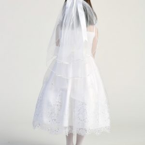 Tea Length First Communion Dress with Crystals Back