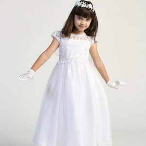 Tea Length First Communion Dress with Lace Bodice and cap Sleeves