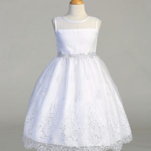Tea Length First Holy Communion Dress with Crystal Scallop hem