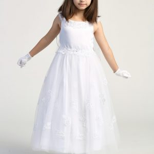 White First Communion Dress with Lace Appliques on Skirt