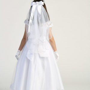 White First Communion Dress with Lace Bodice and cap Sleeves