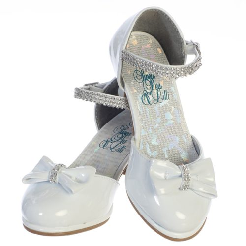 White Patent Leather First Communion Shoes with Bow and Rhinestones