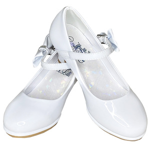 White Patent Leather First Communion Shoes with Bow