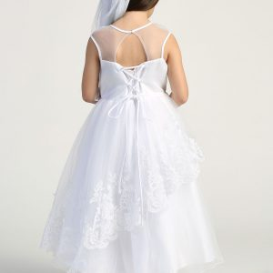 first communion dress with Layered tulle skirt tie back