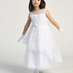 first communion dress with Layered tulle skirt with embroidered trim