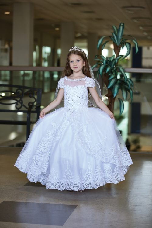 Beautiful Cap Sleeve First Communion Gown with Apron Skirt