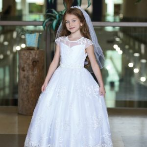Beautiful Cap Sleeve First Communion Gown with Embroidered Mesh Overlay