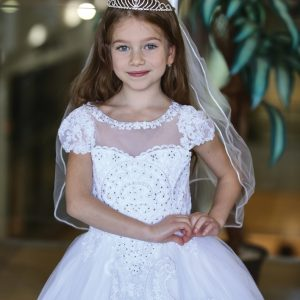 Beautiful Cap Sleeve First Holy Communion Gown with Apron Skirt