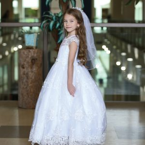 Beautiful Cap Sleeve First Holy Communion Gown with Embroidered Mesh Overlay