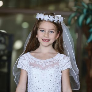 Cap Sleeve First Communion Dress with Layer Skirt