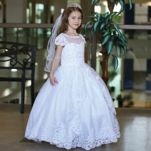Cap Sleeve First Communion Gown with Apron Skirt