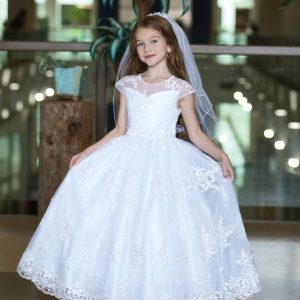 Cap Sleeve First Communion Gown with Embroidered Mesh Overlay