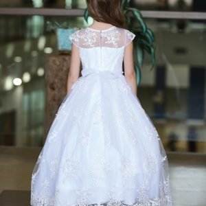 First Communion Gown with Embroidered Mesh Overlay