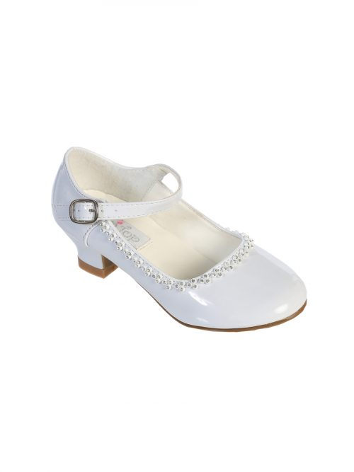 Mary Jane First Communion Shoes with Heels and Rhinestones