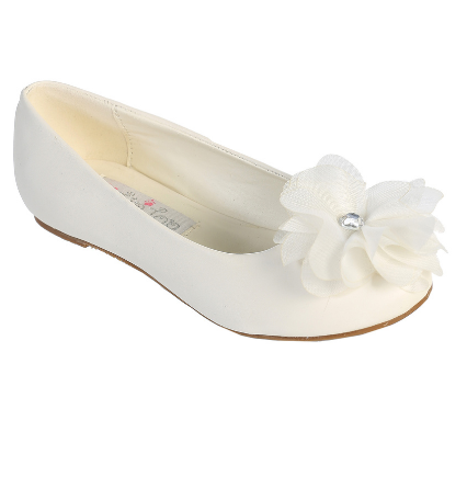 First Communion Shoes Flats with a Large Flower