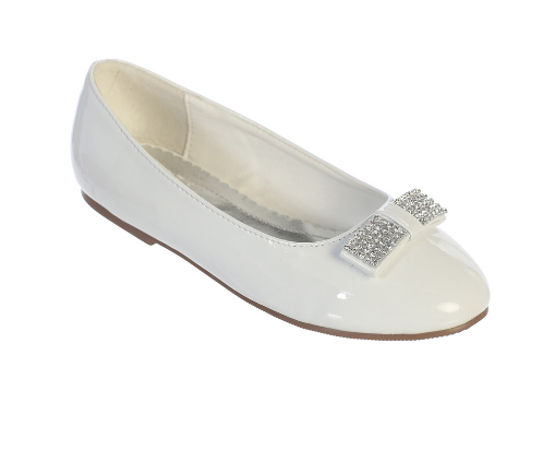 First Communion Shoes with Glittering Rhinestone Bow Accent