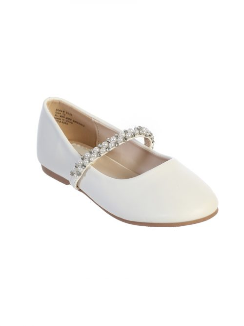 Girls First Communion Flats with Rhinestones and Pearl Strap