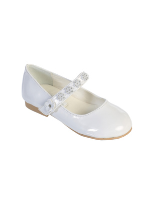First Communion Shoes with Rhinestone Flowers on Strap