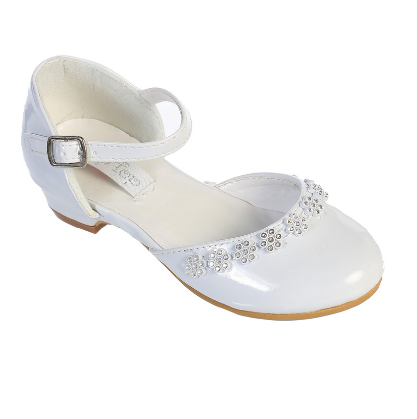 First Communion Shoes with rhinestone flowers
