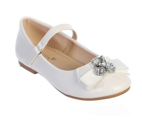 Girls First Communion Flats with Rhinestones and Bow Accent