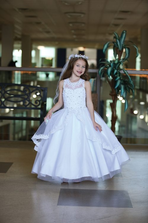 Gorgeous Sleeveless First Communion Gown with Apron Skirt