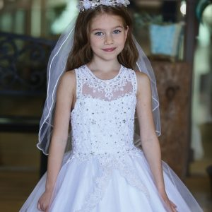 Gorgeous Sleeveless First Holy Communion Gown with Apron Skirt
