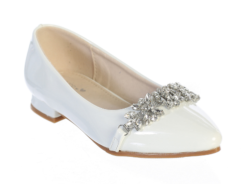 White First Communion Shoes with Rhinestone Buckle
