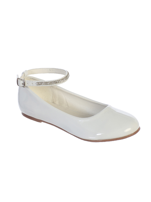 Patent Leather First Communion Flats with Rhinestone Ankle Strap