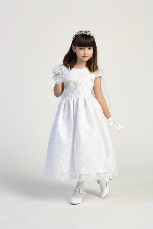 Size 12 Embroidered First Communion Dress with Cap Sleeves
