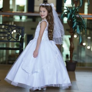 Sleeveless First Communion Gown with Apron Skirt