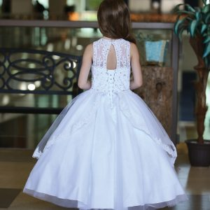 Sleeveless First Holy Communion Gown with Apron Skirt