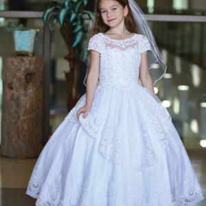 Stunning Cap Sleeve First Communion Dress with Layer Skirt