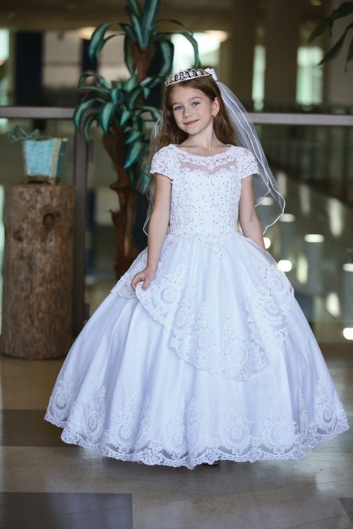 Stunning Cap Sleeve First Communion Dress with Layer Skirt