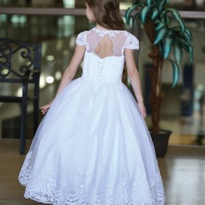 Stunning Cap Sleeve First Communion Gown with Apron Skirt