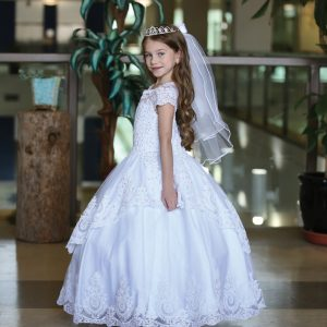 Stunning Cap Sleeve First Holy Communion Dress with Layer Skirt