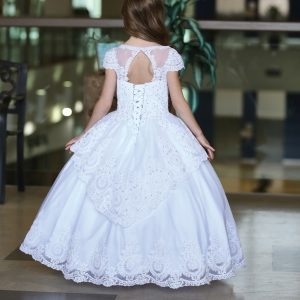 Stunning Cap Sleeves First Communion Dress with Layer Skirt