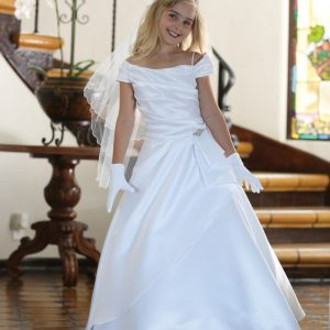 A Line Satin Catholic First Communion Dress