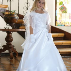 A Line Satin Full Length First Communion Dress