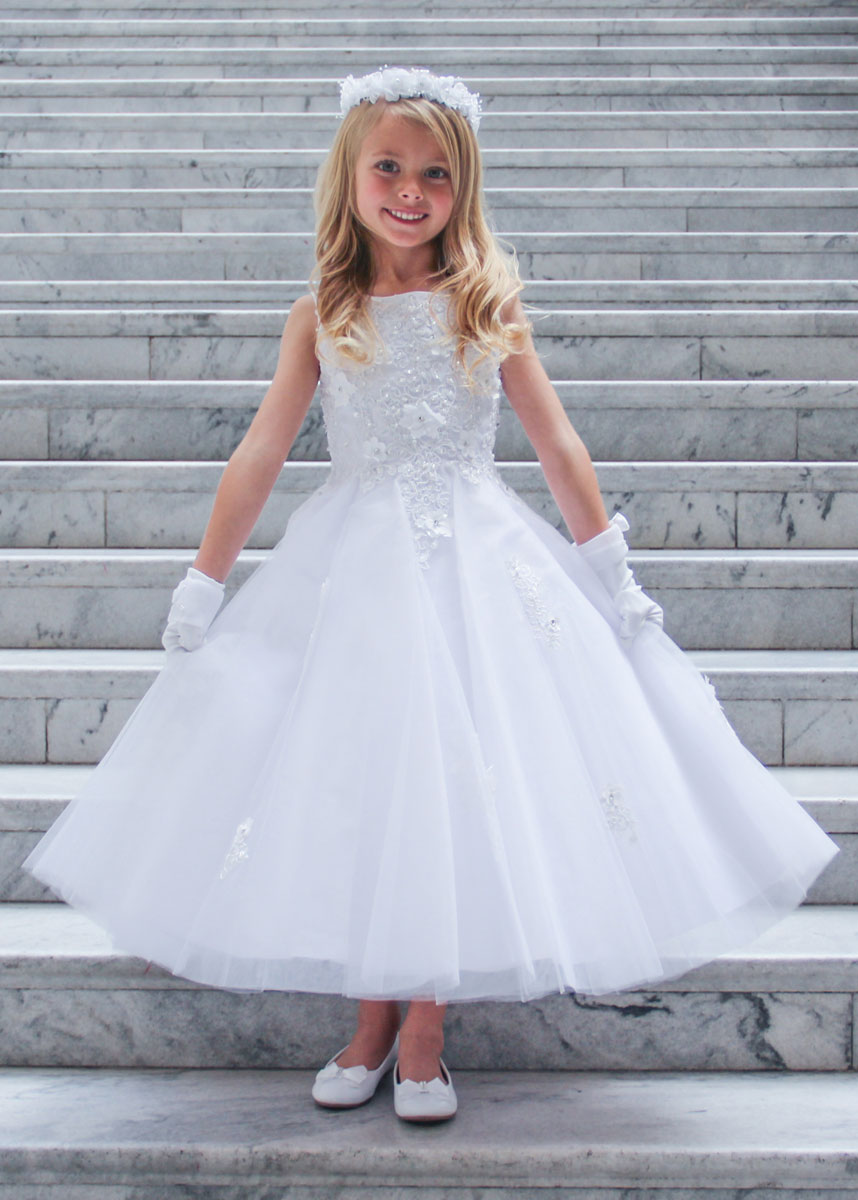 Ballerina First Communion Dress with Flower Bodice