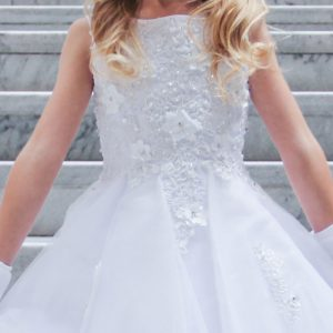 Tea Length First Communion Dress with Flower Bodice