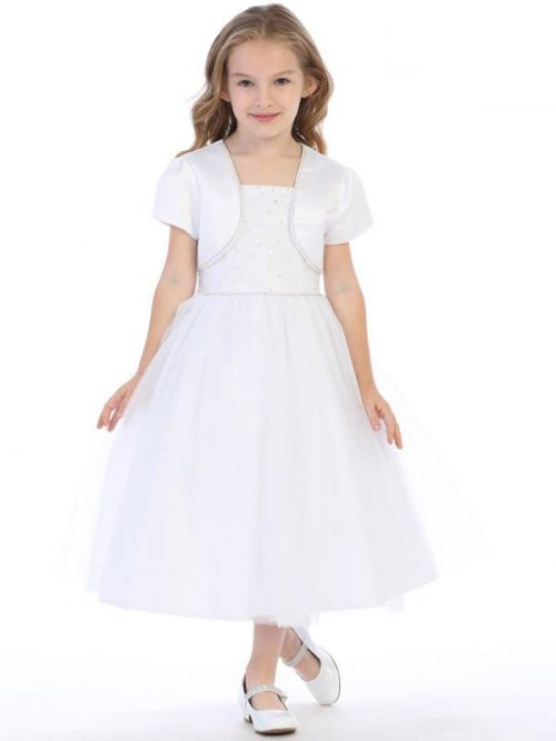 Beaded First Communion Dress with Bolero Jacket
