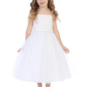 Beaded First Communion Dress with Spagetti Straps