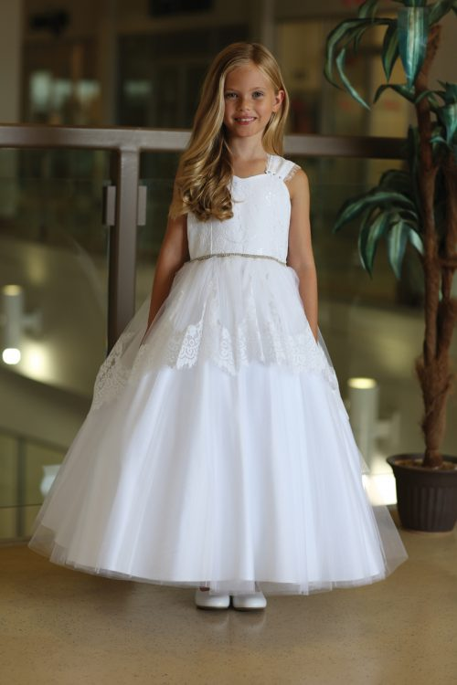 Beautiful First Communion Dress with Lace Overlay
