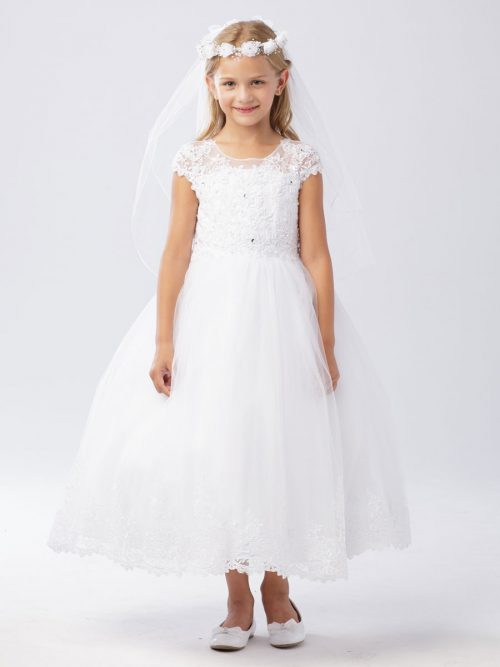 Beautiful Lace First Communion Dress with Cap Sleeves